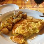 Omelette and potatoes