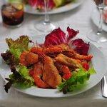 Chicken and prawns salad.