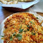 Frontier Chicken with basmati rice and buttered Naan.