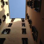 Looking up from the courtyard.