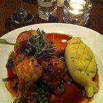 Rotisserie chicken, with herb stuffing balls