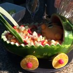 Amazing melon carvings at dinner