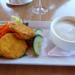 crab cakes and asparagus soup.