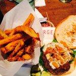 The Farmhouse Burger with chicken cracklin'