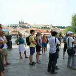 Ross is guiding our group at the Charles Bridge