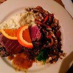 seared sesame tuna with mashed potatoes and Asian slaw