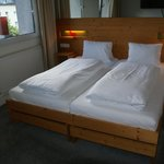 Double bed in room.