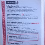 Main ramen section of menu. Go with the Spicy, very worth it!