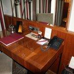 Desk in room.