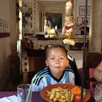 My son with his kebab. This is from the children's menu!
