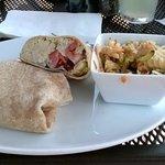 tuna salad wrap with macaroni salad