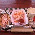 lobster roll, shrimp, clam chowder