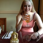 Enjoying a Kingfisher beer at the Curry Village August 7, 2014.