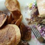 Greek Turkey Burger with homemade potato chips