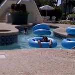 Kids playing in the lazy river