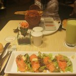 Smoked Salmon, Avocado Juice & Skewers all very good!