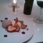 strawberry shortcake and grooms Shiraz. Yum!