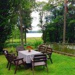 Back yard with lake