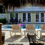 The Tiki hut and pool area