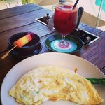 Healthy! Veg juice and egg-white omelets! Light as a feather!