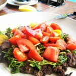 One of our many favourites - minute steak and the tomato salad.