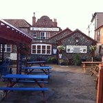 the beer garden at the back of the pub
