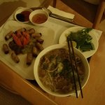 Room Service Food (Pho and Spring Rolls)