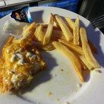 Your standard fish n chips (half eaten).