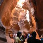 début du trajet avec la guide dans Upper Antelope Canyon