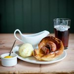 We do sausages, mash, gravy and real ale