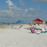 Hotel guests getting ready for July 4th on the beach!