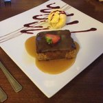 Sticky toffee pud, toffee sauce plus fruit sauce and poor quality ice cream :-s