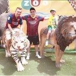 Alex, Ciaran and Rhys at Barcelona Zoo.