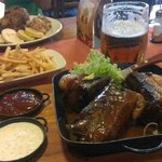 Duck and the baked pork ribs