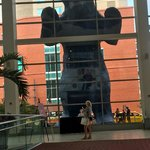 The Big Blue Bear from inside the Convention Center.