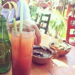 bloody mary and chips and bean dip (so good)