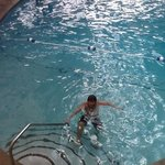 My son in the indoor pool