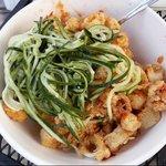 calamari with cucumber slaw