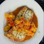 Pan-seared halibut with peach and red pepper salsa