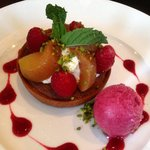 Tart with sorbet - delicious ending to a wonderful lunch!