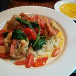 Stuffed prawn over lemon risotto