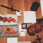amazingly tasty salmon sushi with plum wine
