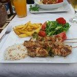 Chicken shish kebab and tuna pasta