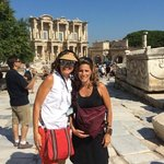 In front of Ephesus library ruin with our tour guide Nor ( she is on the left)