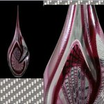 Murano Glass Vase with rubies and Diamonds mounted. Jewels and Glass for the first time together