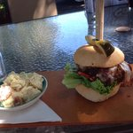 Bison burger with bacon