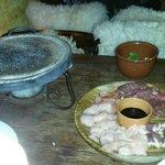 Fondue de carne, frango, coração e liguiça