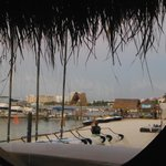 View from porthole in Asian restaurant