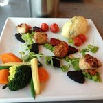 Scallops with black pudding and chorizo.