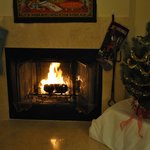 Our Christmas tree by the fireplace helped add to the already homey feel this establishment stri